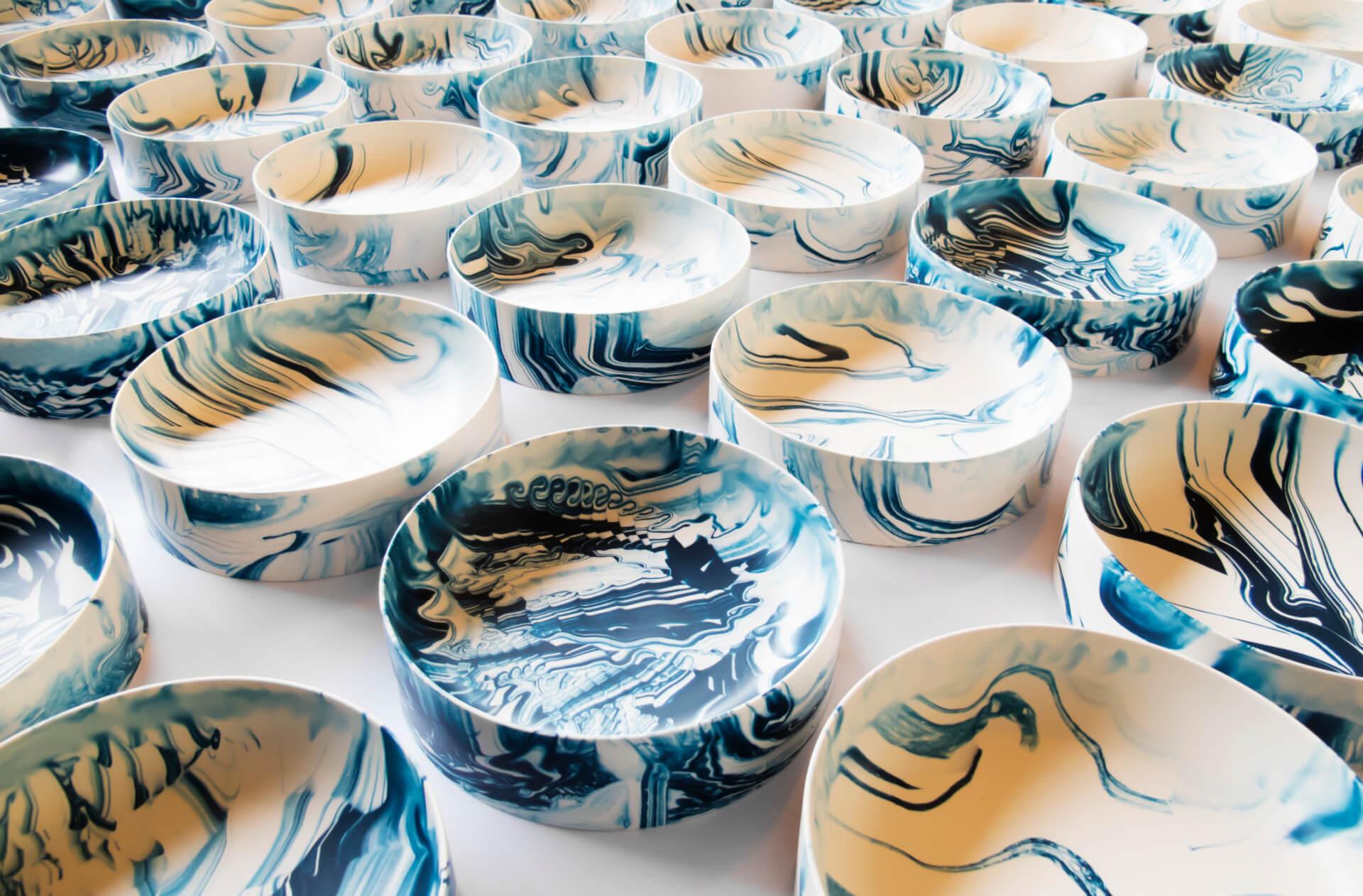 Poured Bowls Blue