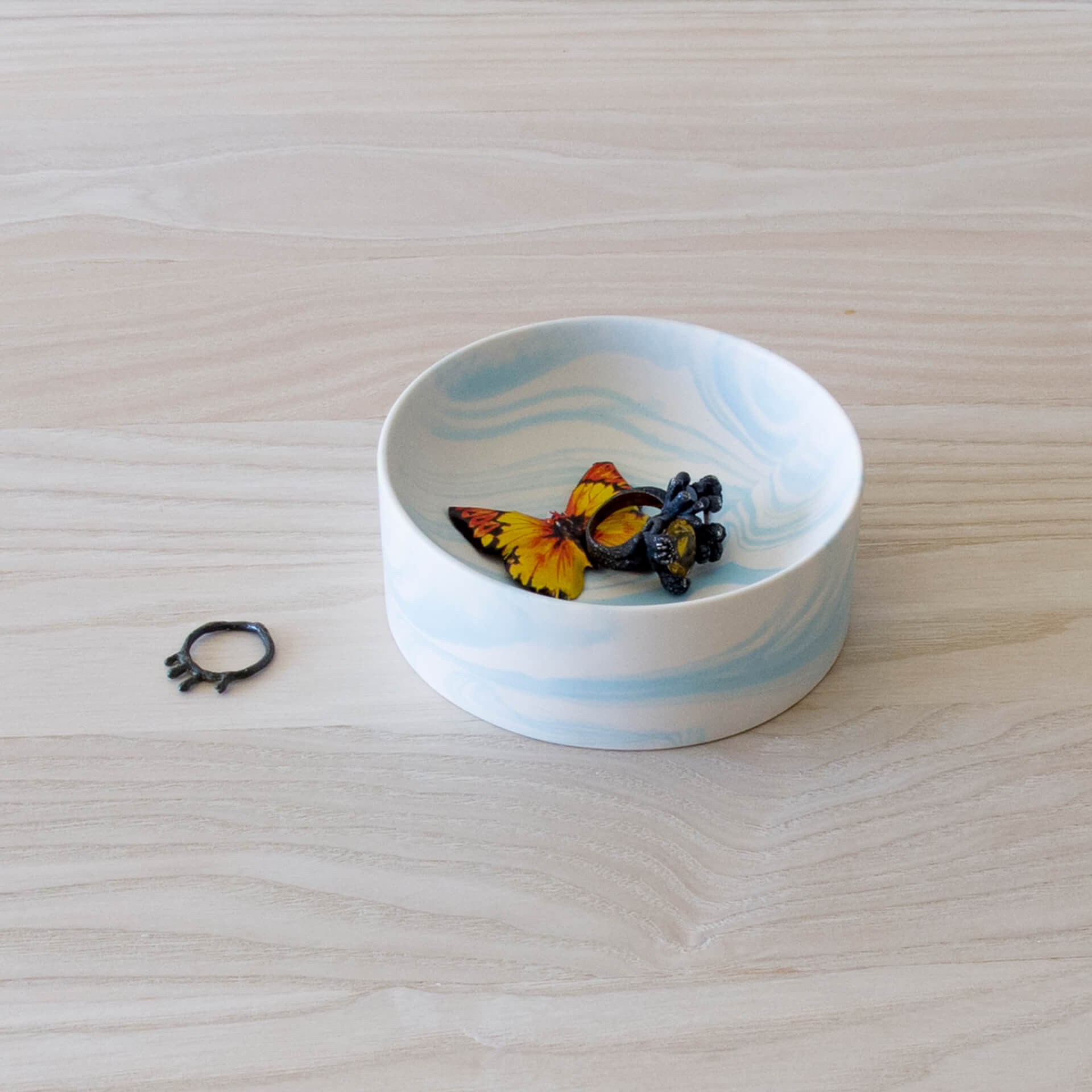 Poured Bowl – Small – White with Light Blue – Angled View – Troels_Flensted – Square – 300dpi